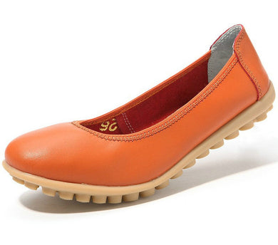 orange leather winter nodule shoes for women who want comfortable feet