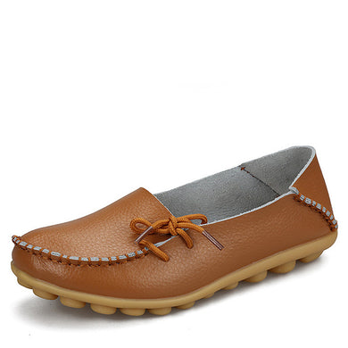 Light Brown Leather Shoes Moccasins with Nodule Soles