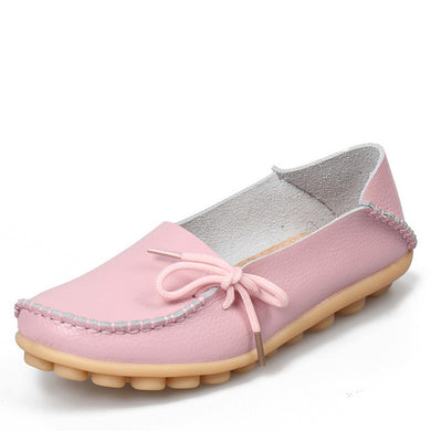 Light Pink Leather Shoes Moccasins with Nodule Soles