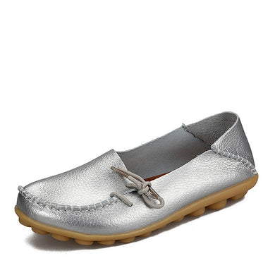 Silver Leather Shoes Moccasins with Nodule Soles