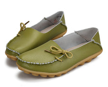 Grass Green Leather Shoes Moccasins with Nodule Soles