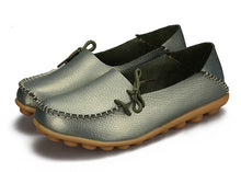 Light Green Leather Shoes Moccasins with Nodule Soles