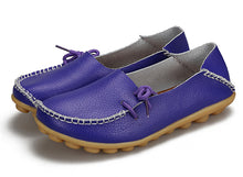 Purple Leather Shoes Moccasins with Nodule Soles