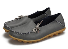 Grey Leather Shoes Moccasins with Nodule Soles
