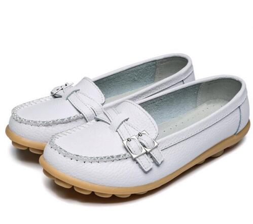 White Double Buckle Nodule Shoe