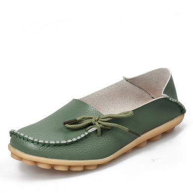 Army Green Leather Shoes Moccasins with Nodule Soles