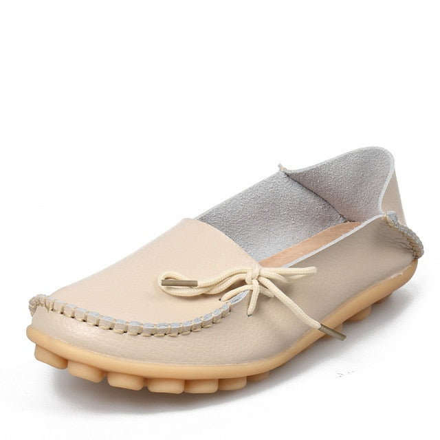 Beige Leather Shoes Moccasins with Nodule Soles