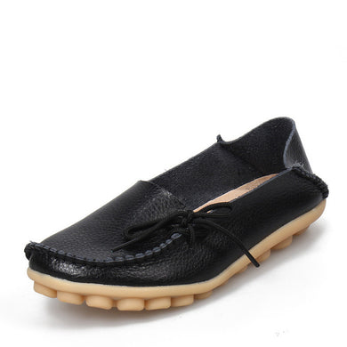 Black Leather Shoes Moccasins with Nodule Soles