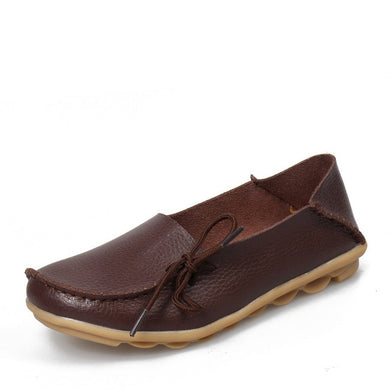 Coffee Brown Leather Shoes Moccasins with Nodule Soles