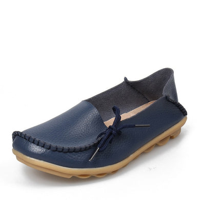 Dark Blue Leather Shoes Moccasins with Nodule Soles