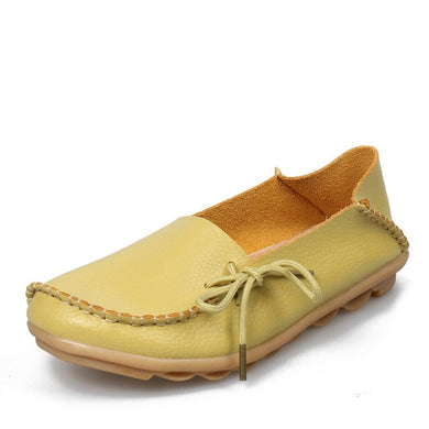 Fruity Light Green Leather Shoes Moccasins with Nodule Soles
