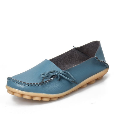 Light Blue Leather Shoes Moccasins with Nodule Soles