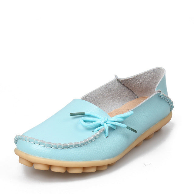Moon Light Blue Leather Shoes Moccasins with Nodule Soles