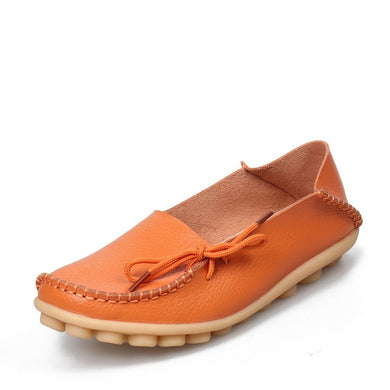 Orange Leather Shoes Moccasins with Nodule Soles