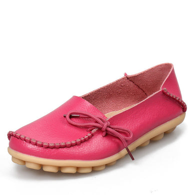Rosy Red Leather Shoes Moccasins with Nodule Soles