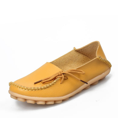 Yellow Leather Shoes Moccasins with Nodule Soles