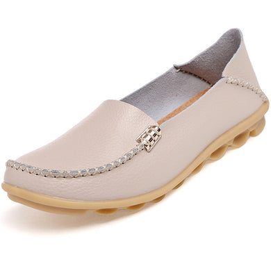 Beige Nodule Shoes with Metallic Fixing on Each Side