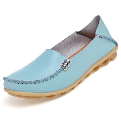 Light Blue Nodule Shoes with Metallic Fixing on Each Side