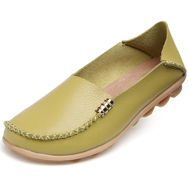 Lime Green Nodule Shoes with Metallic Fixing on Each Side