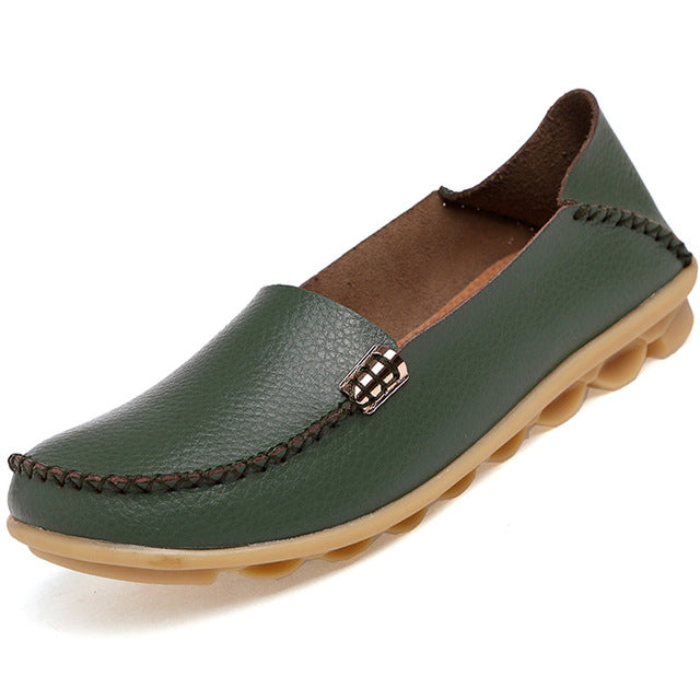 Dark Green Nodule Shoes with Metallic Fixing on Each Side