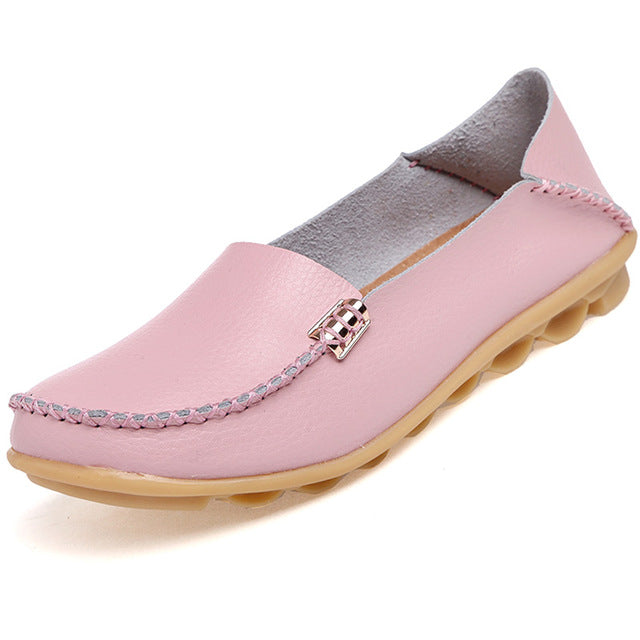 Light Pink Nodule Shoes with Metallic Fixing on Each Side
