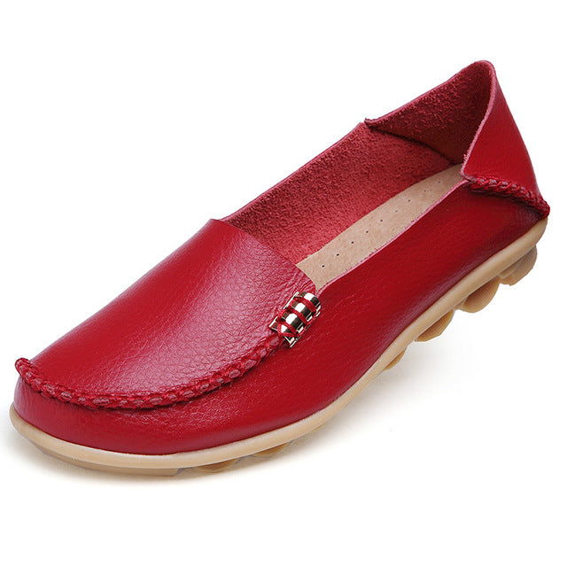 Red Nodule Shoes with Metallic Fixing on Each Side
