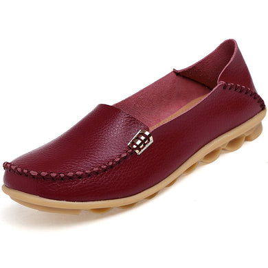 Red Wine Nodule Shoes with Metallic Fixing on Each Side