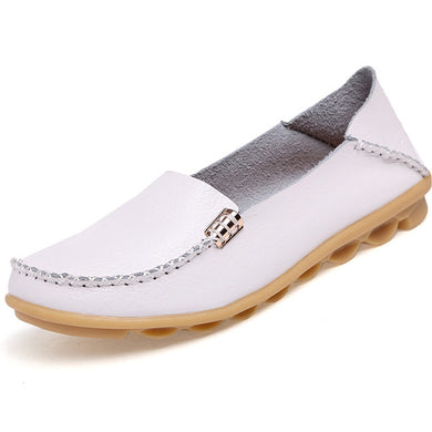 Ivory White Nodule Shoes with Metallic Fixing on Each Side