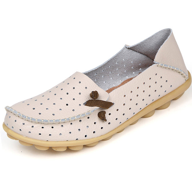 Beige Breathable Nodule Shoe with Lace Feature