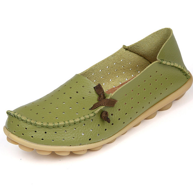 Grass Green Breathable Nodule Shoe with Lace Feature