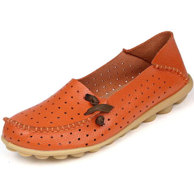 Orange Breathable Nodule Shoe with Lace Feature