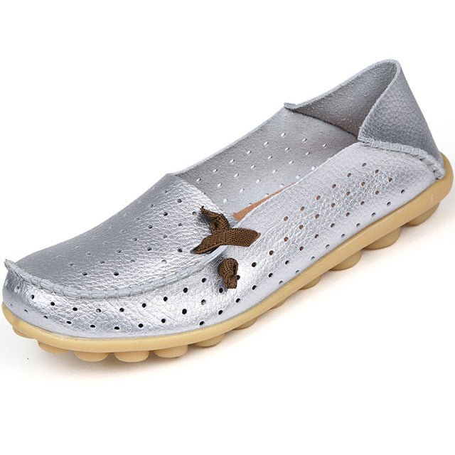 Silver Breathable Nodule Shoe with Lace Feature