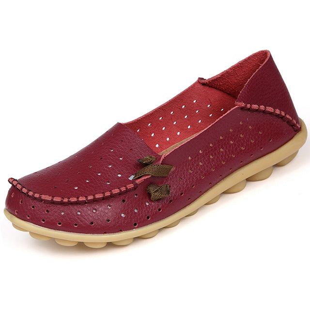 Red Wine Breathable Nodule Shoe with Lace Feature