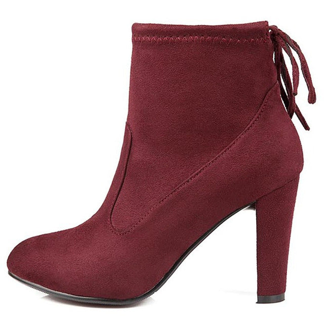 Red Round Toe High Heel Lace-up Ankle Boots