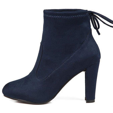 Blue Round Toe High Heel Lace-up Ankle Boots
