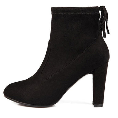 Black Round Toe High Heel Lace-up Ankle Boots