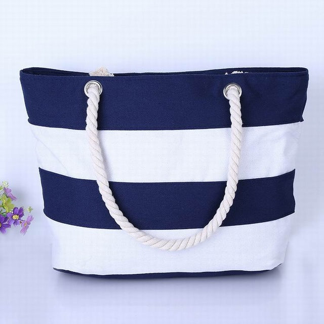 Wide Dark Blue and White Stripes Canvas Tote Bag