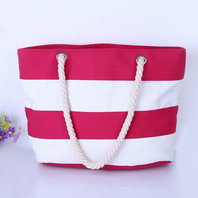 Wide Pink and White Stripes Canvas Tote Bag