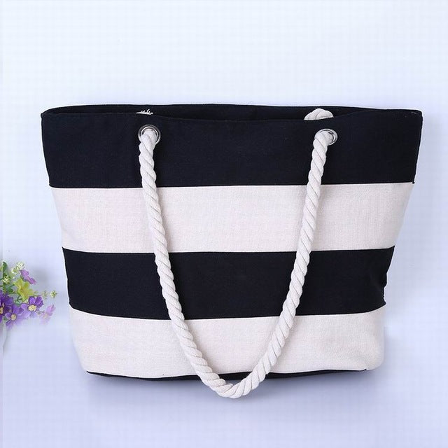 Wide Black and Beige Stripes Canvas Tote Bag