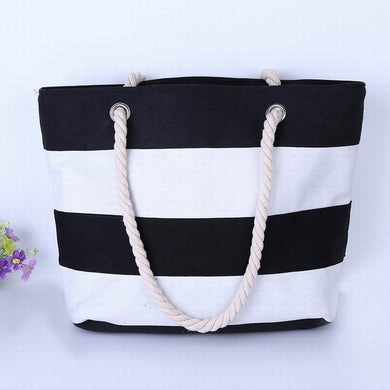 Thick Black and White Stripes Canvas Tote Bag
