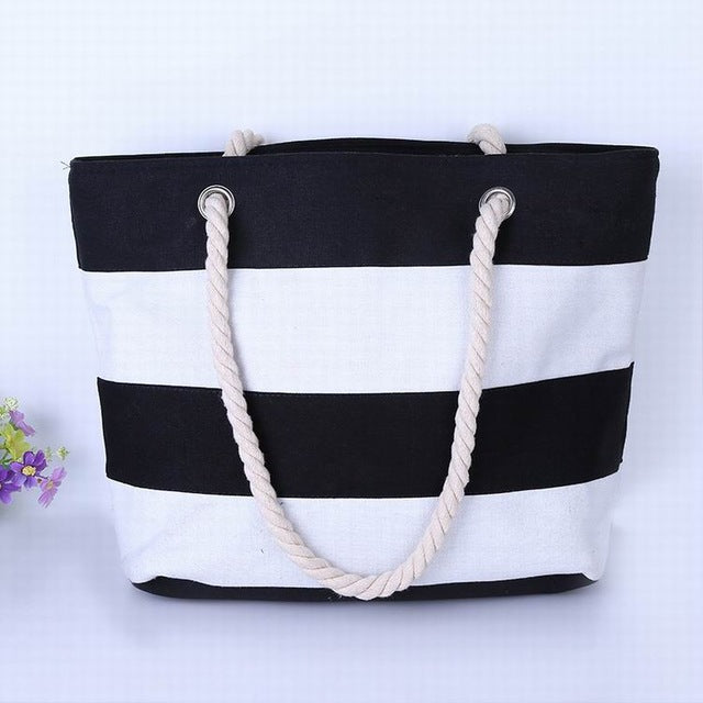 f98320f9b Thick Black and White Stripes Canvas Tote Bag – Terrific Shoes