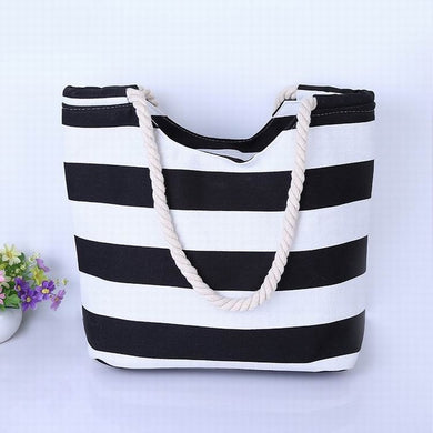 Middle Thickness Black and White Stripes with Scallop Canvas Tote Bag