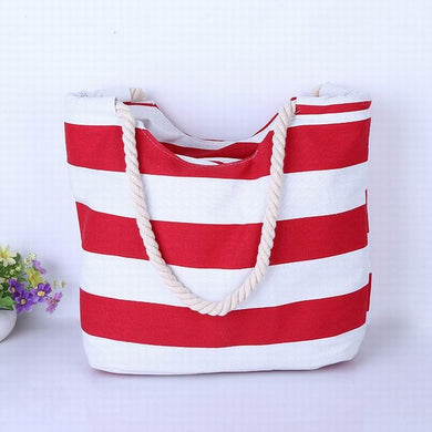 Middle Thickness Red and White Stripes with Scallop Canvas Tote Bag