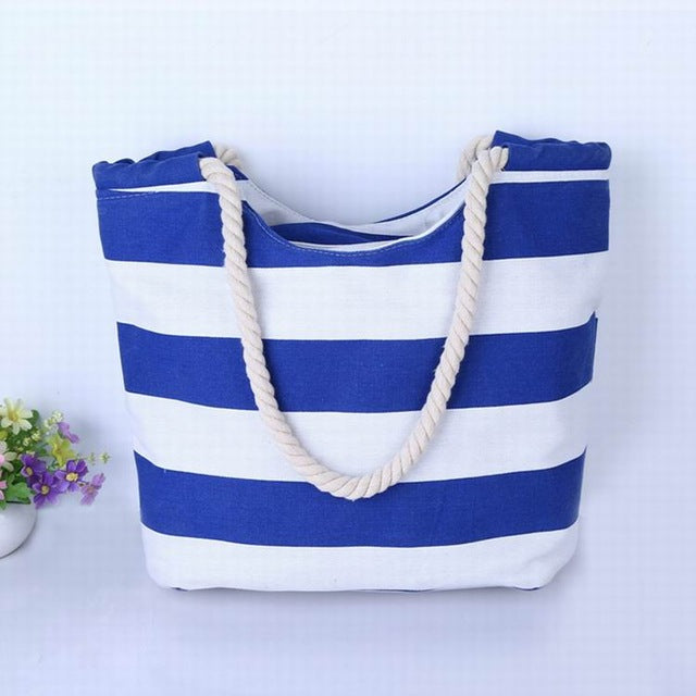 Middle Thickness Bright Blue and White Stripes with Scallop Canvas Tote Bag