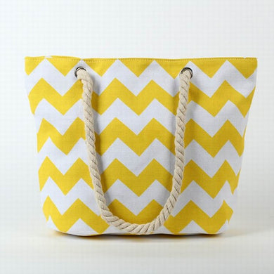 Yellow and White ZigZags Beach Canvas Tote Bag