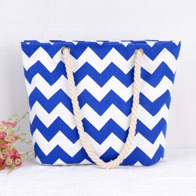 Bright Blue and White ZigZags Canvas Tote Bag