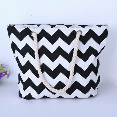 Black and White ZigZags Canvas Tote Bag