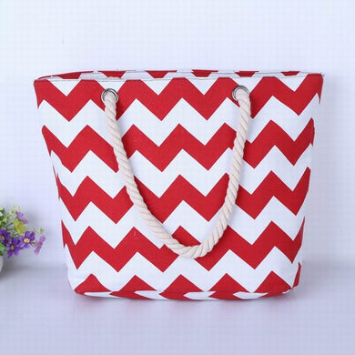 Red and White ZigZags Canvas Tote Bag