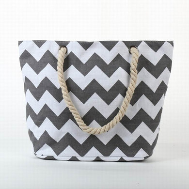 Grey and White ZigZags Canvas Tote Bag