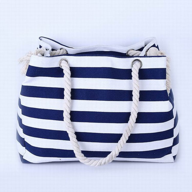 Thin Dark Blue and White Stripes Canvas Tote Bag